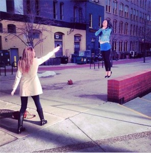 girl vadering near wall
